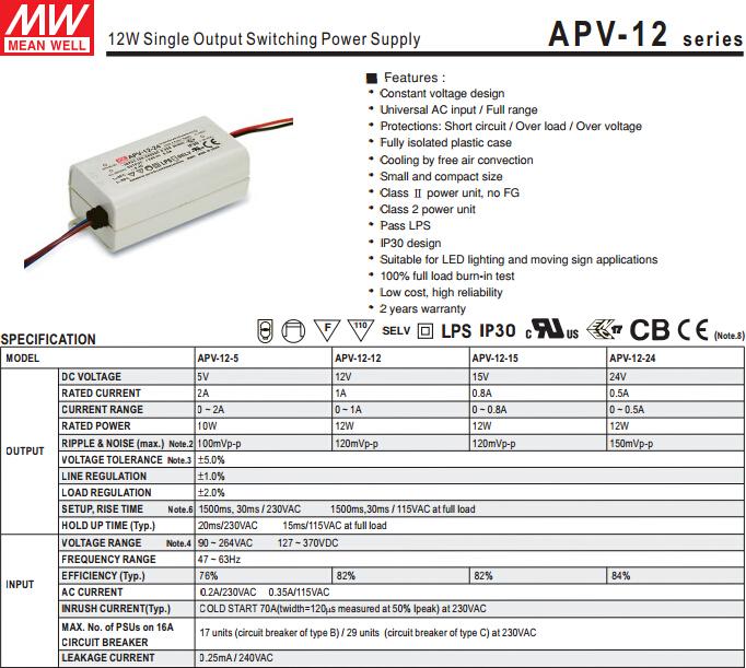 Mw Apv-12-24 24v 0.5a Led Driver Circuit 7w 12w