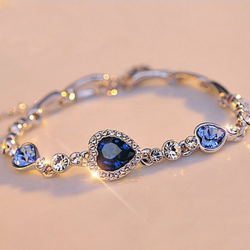 New Charm Bracelets: Stylish Women New Fashion Ocean Blue Sliver Plated Crystal