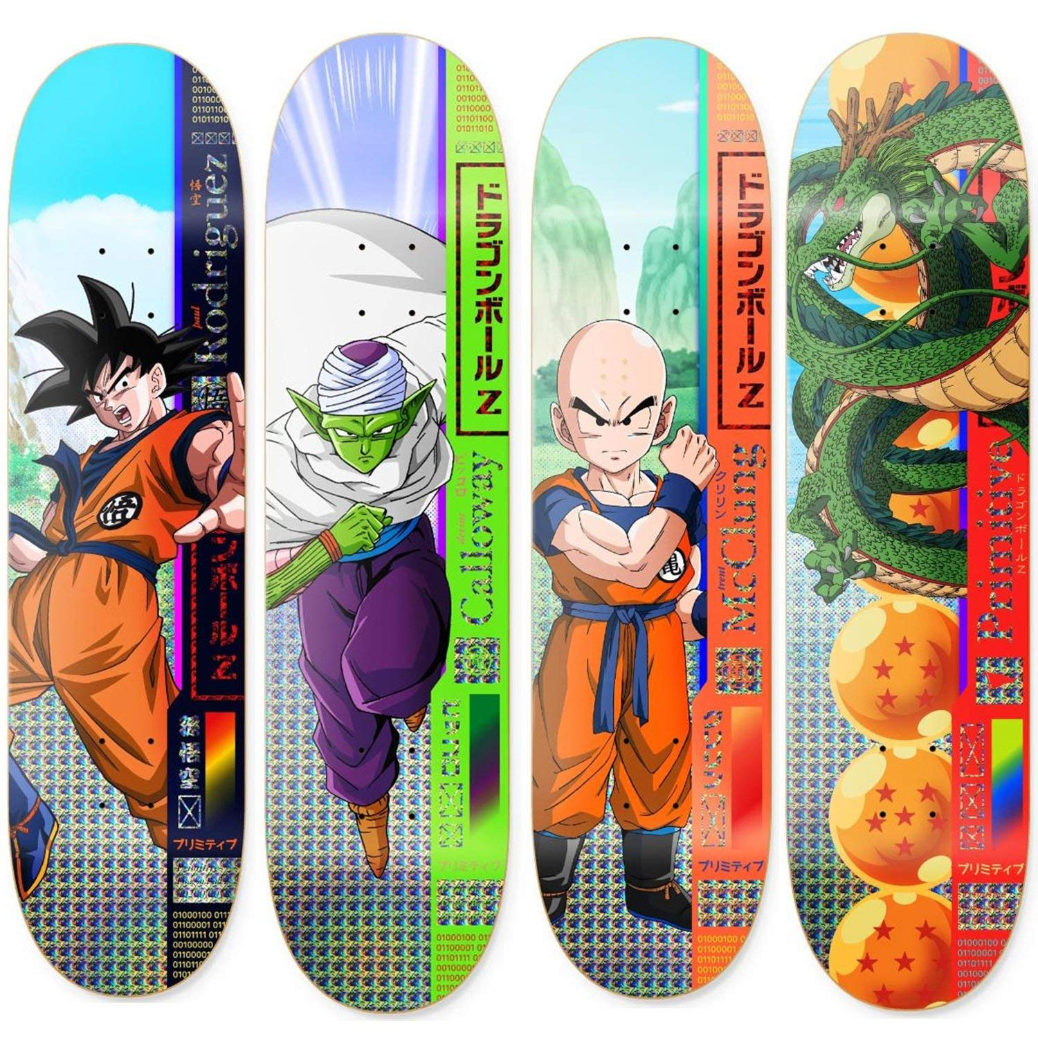 Primitive Dragon Ball Z Skateboard Decks Goku Piccolo Krillin Shenron 4 Pack