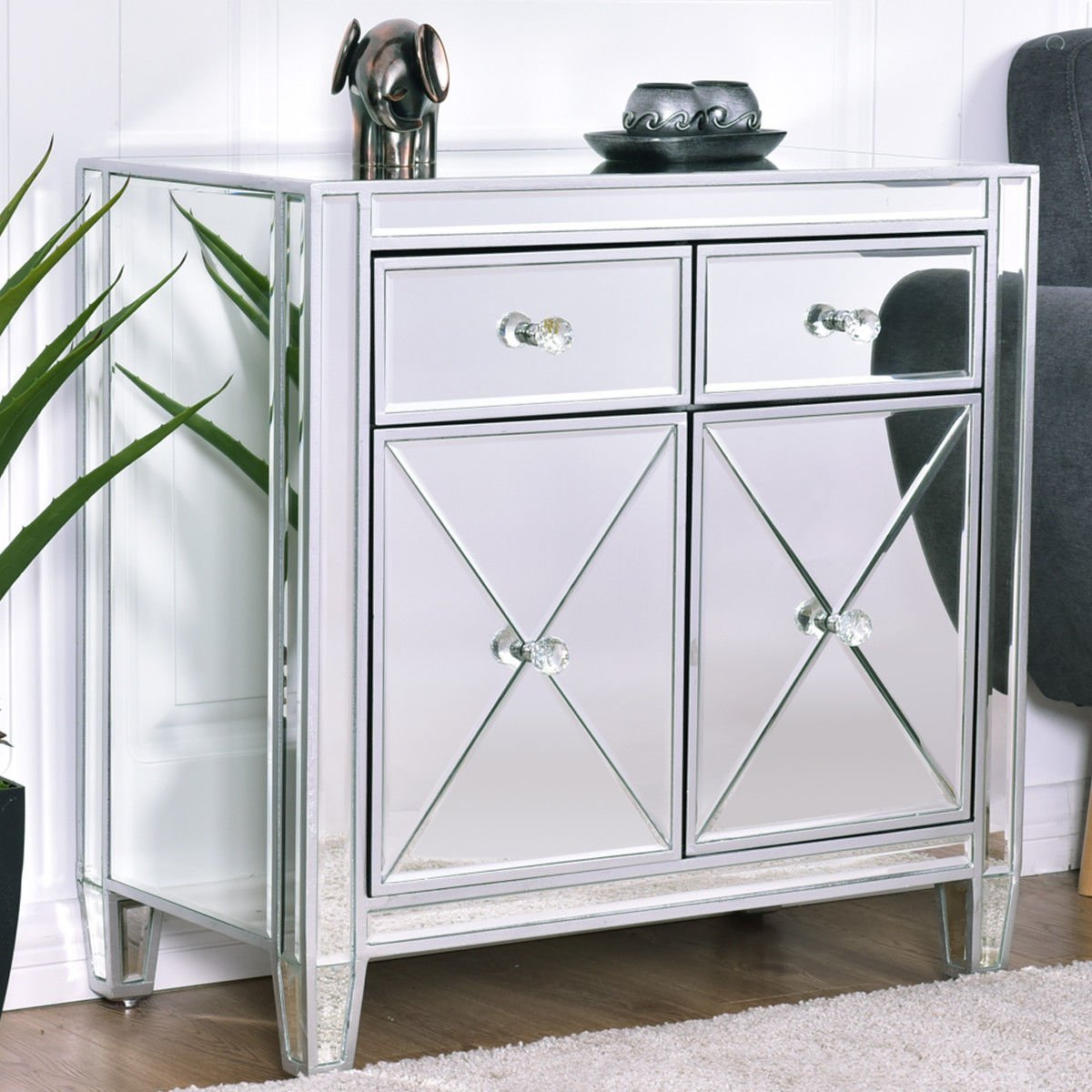 Get Quotations · Storage Accent Cabinet Storage Chest Drawer Bedroom Furniture  Mirrored Cabinet