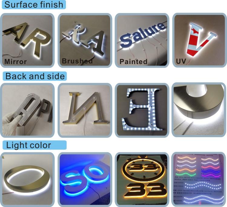 Nhà Máy Thiết Kế Miễn Phí Ngoài Trời 3D LED Chiếu Sáng Khách Sạn Chữ Backlit Dấu Hiệu Biểu Tượng