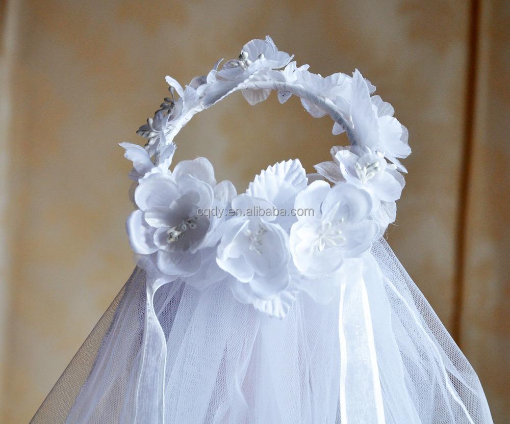 Flower Wedding Veil With Silk White Communion Comb