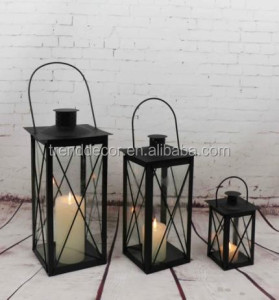 Ml-063 Set Of 3 High Quality Holiday Festival Home Decor Windproof Black Metal Candle Lantern