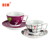 High quality promotional white ceramic tea cup and saucer