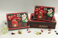 Custom Printed cheap red square indian wedding favor gift boxes with knots