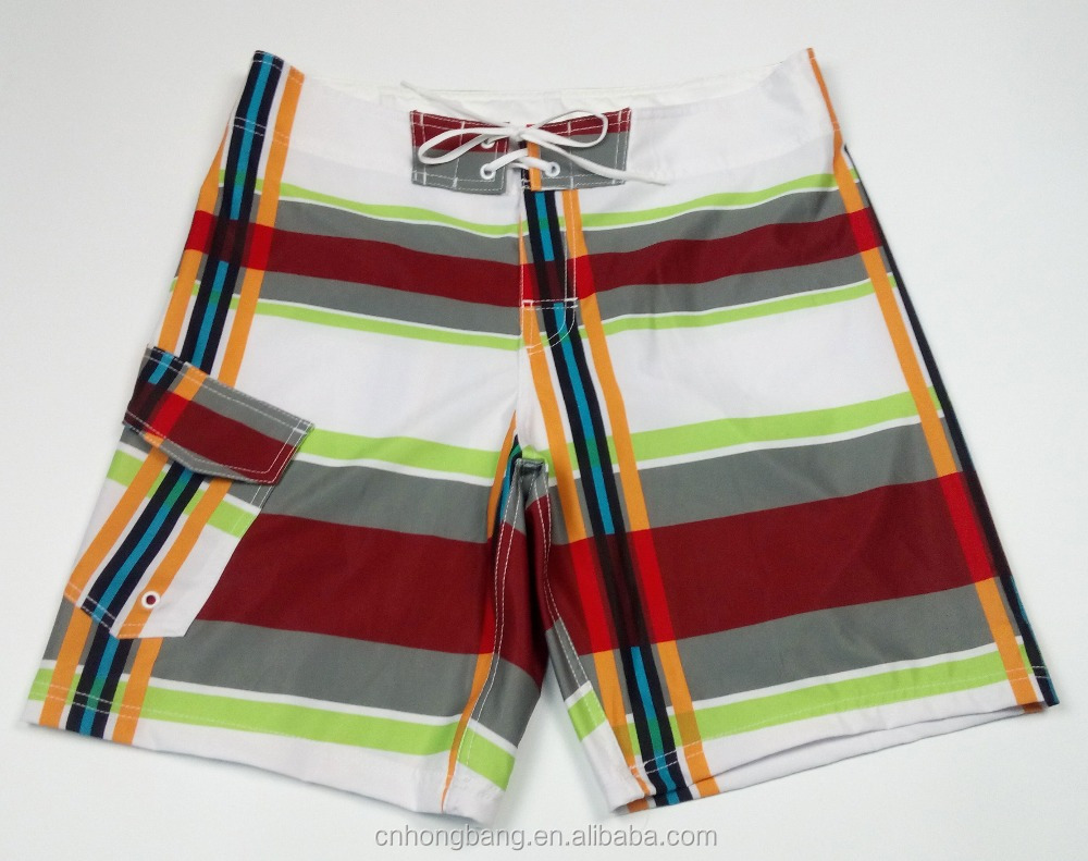 beautiful plaid printing fabric made men's boardshorts in stock for surfing beachwear