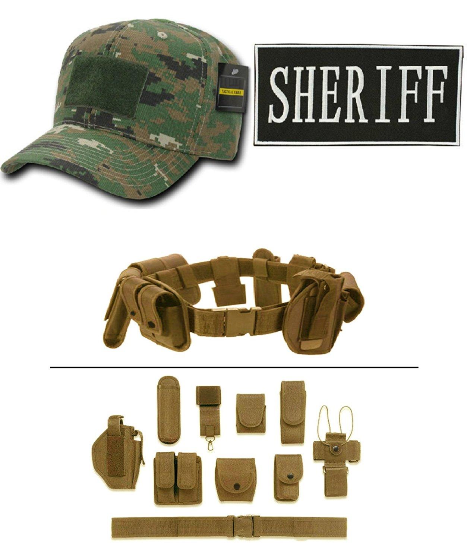 Woodland Digital Cap + ENFORCEMENT ID SHERIFF + Tan Duty Belt Holster