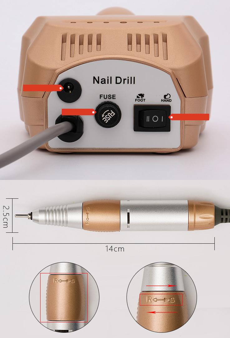 RISESUN 204 Dissipazione di Calore Macchina 20 W Elettrico Nail Drill 35000 Per Salone di bellezza