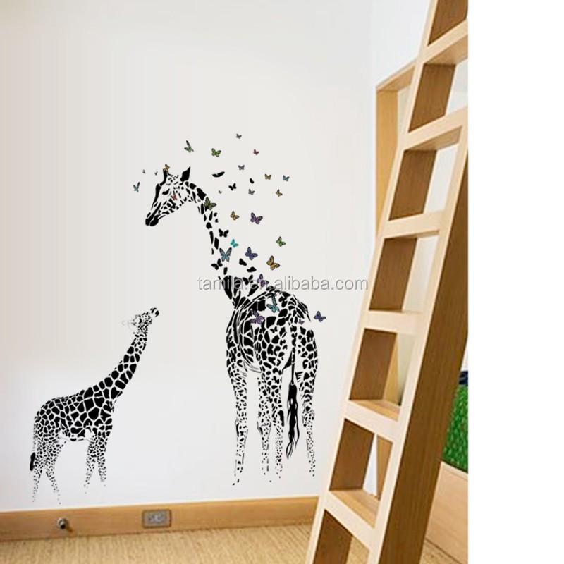 Giraffe Wall Sticker For Baby Room Kid Nursery Cartoon Animal Mural Wallpaper