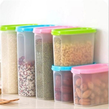 Food Grade Tall Plastic Clear Rice Food Storage Box Container With