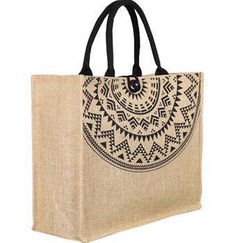 100% natural handmade laminated printed cotton jute bags