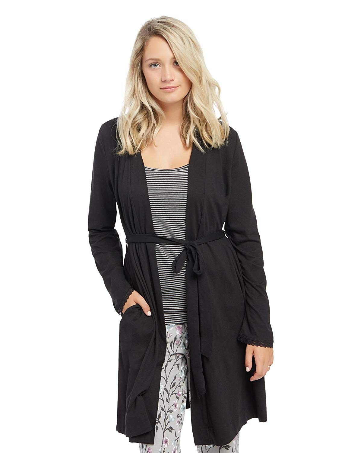 6782d59b4f3eb Get Quotations · Motherhood Maternity Women's Maternity Tie Front Nursing  Robe with Lace Trim Sleeve
