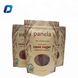 Custom logo doypack resealable zipper brown kraft food packaging paper bags with clear window