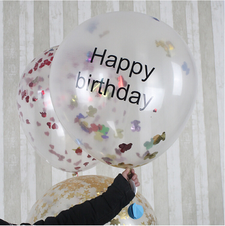 "Top Quality Giant Clear Confetti 36"" Balloon Printed with Happy Birthday Beautiful Balloon for Birthday Party Decoration"