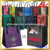 Custom design logo printing non-woven shopper bag with Black handles and Black Sides