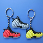 Custom cute personalized soft rubber silicon shoe key chain 3D sneaker custom logo PVC keychain