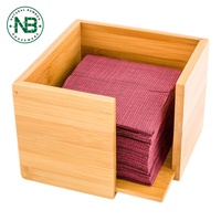 Natural color square bamboo wooden tissue box napkin holder made in China
