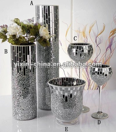 Silver Mirror Glass Mosaic Vasecrakle Candle Holder For Wedding