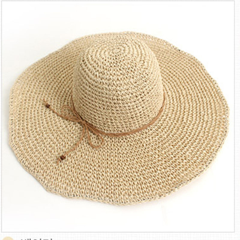 Get Quotations · Women Beach Hats 2015 Foldable Wide Large Brim Beach Sun  Hat Straw Beach Cap For Ladies f931de602c6