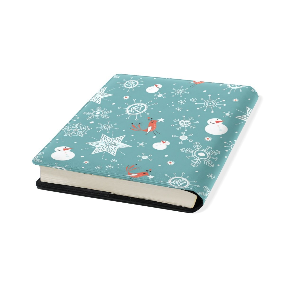 Sunlome Winter Snowman Snowflake Bird Pattern Stretchable PU Leather Book Cover 9 x 11 Inches Fits for School Hardcover Textbooks
