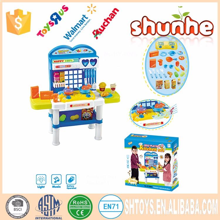 Kids kitchen utensil play set plastic kitchen set toy with for Plastic kitchen set