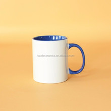[ZIBO HAODE CERAMICS] white and blue two-tone wholesale coffee cup manufacturer ceramic mug