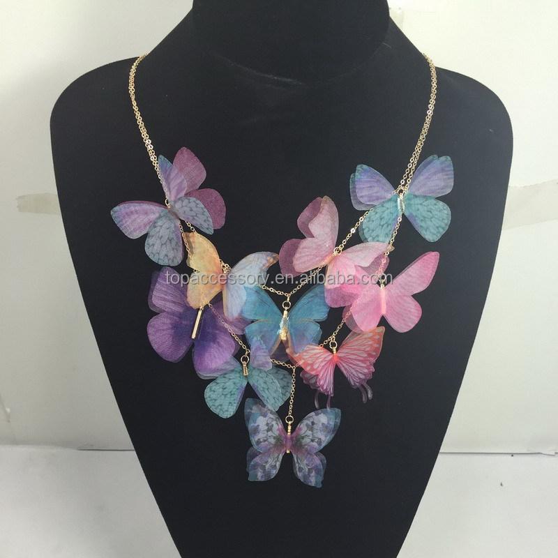 54d65a867233 Chica moda 2016 primavera hechos a mano declaración emulación collar de  mariposa