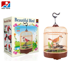 New sound control bird cage plastic pet B/O parrot toys HC398149