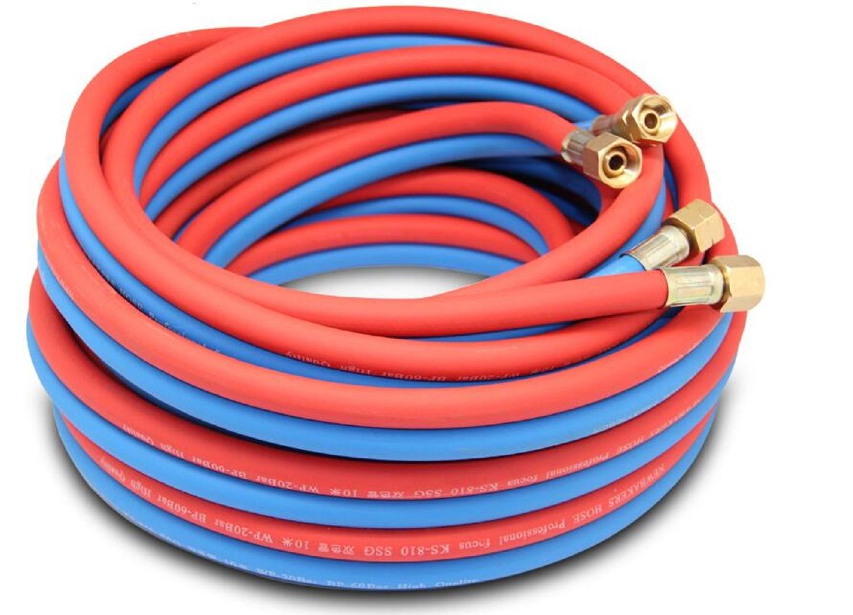 रबर सामग्री एसिटिलीन जुड़वां ट्यूब गैस वेल्डिंग नली ऑक्सीजन नली