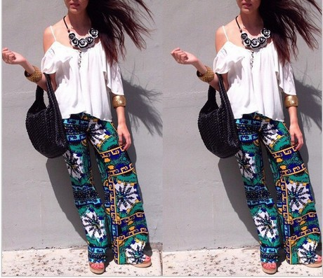 Summer new style women's printed trousers casual straight long pants