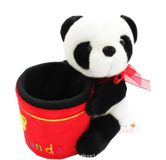 Plush pen holder stuffed panda pencil cup custom plush pen holder