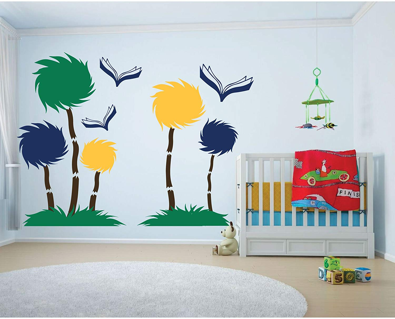 Get Quotations Dr Seuss Decoration Vinyl Wall Decor Full Mural Tufted Trees Nursery