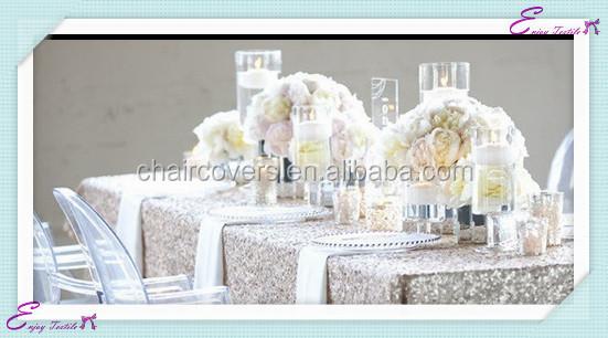 yht131 silver sequin polyester banquet wedding wholesale cheap table cloth linen overlay