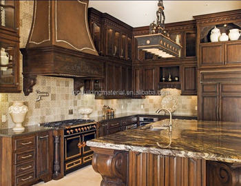 Custom made wooden kitchen pantry cupboards with granite