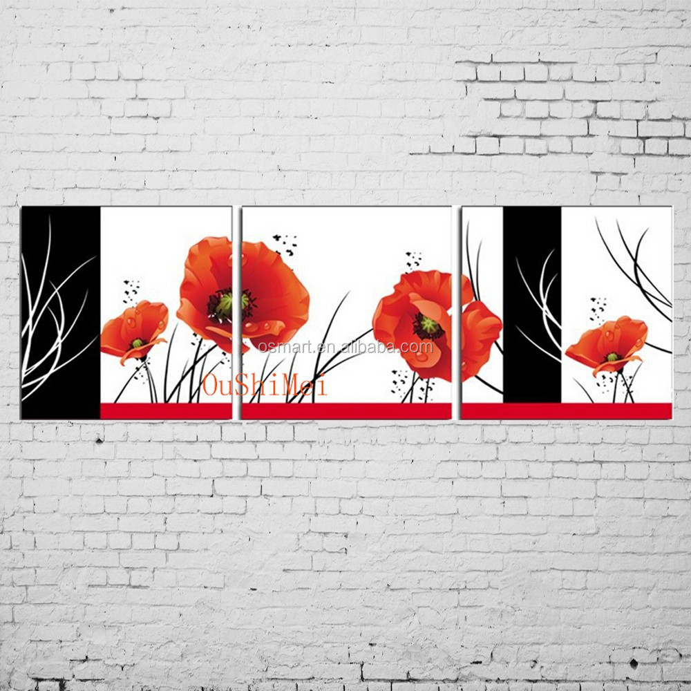 Hand Painted Abstract Red Flower Painting Frame Ou Shi Mei Group ...