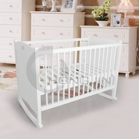 Hongjin White Wooden Baby Furniture/ New Born Baby Cribs