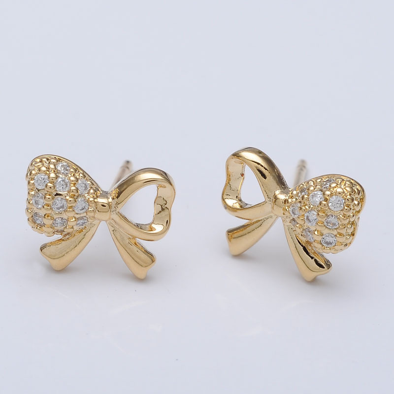 Cute Design Gold Bow Knot Shape Jewelry Small Earring