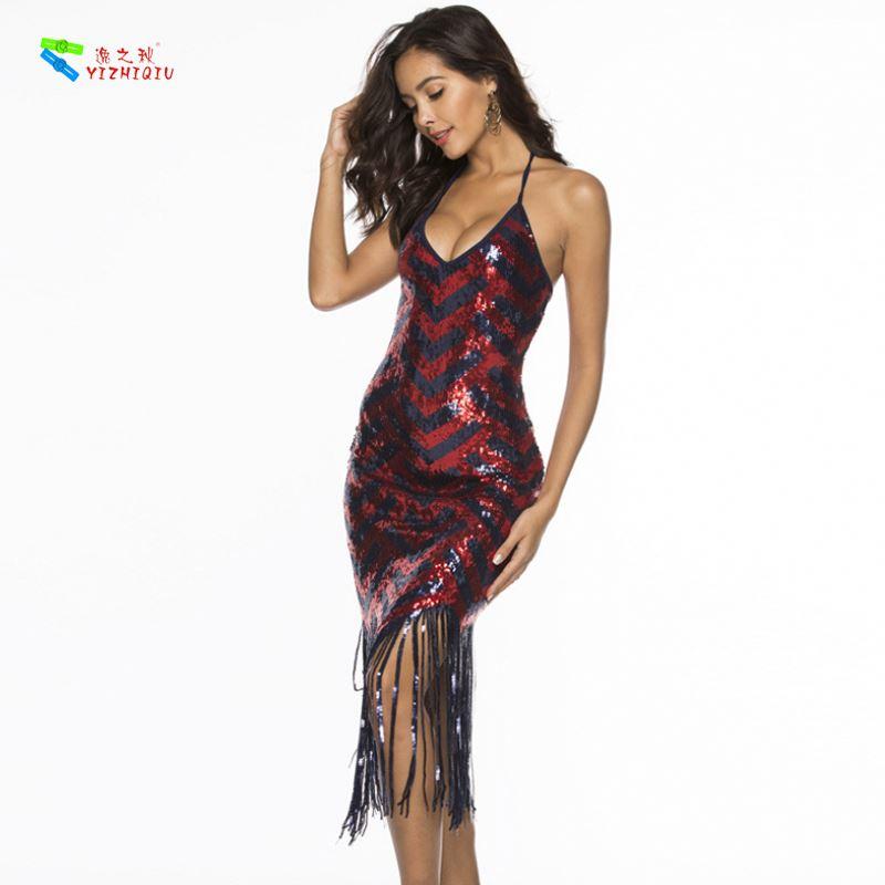 YIZHIQIU V Neck Strap Beaded Sequined Fringed Woman Dress