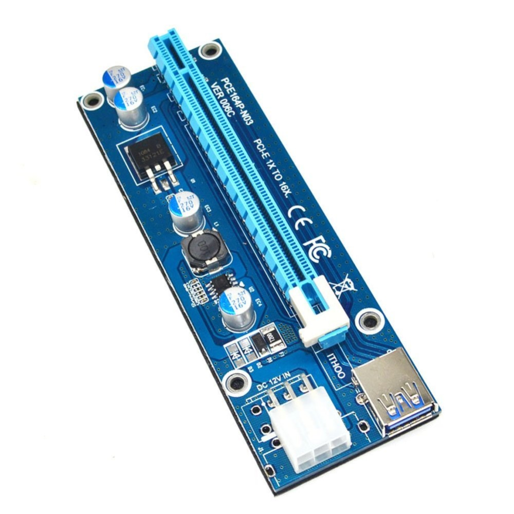 PCIe 1x to 16x PCI Express Extender Riser Card USB 3.0 PCI-e Extension Adapter with SATA 15pin to 6pin power cable