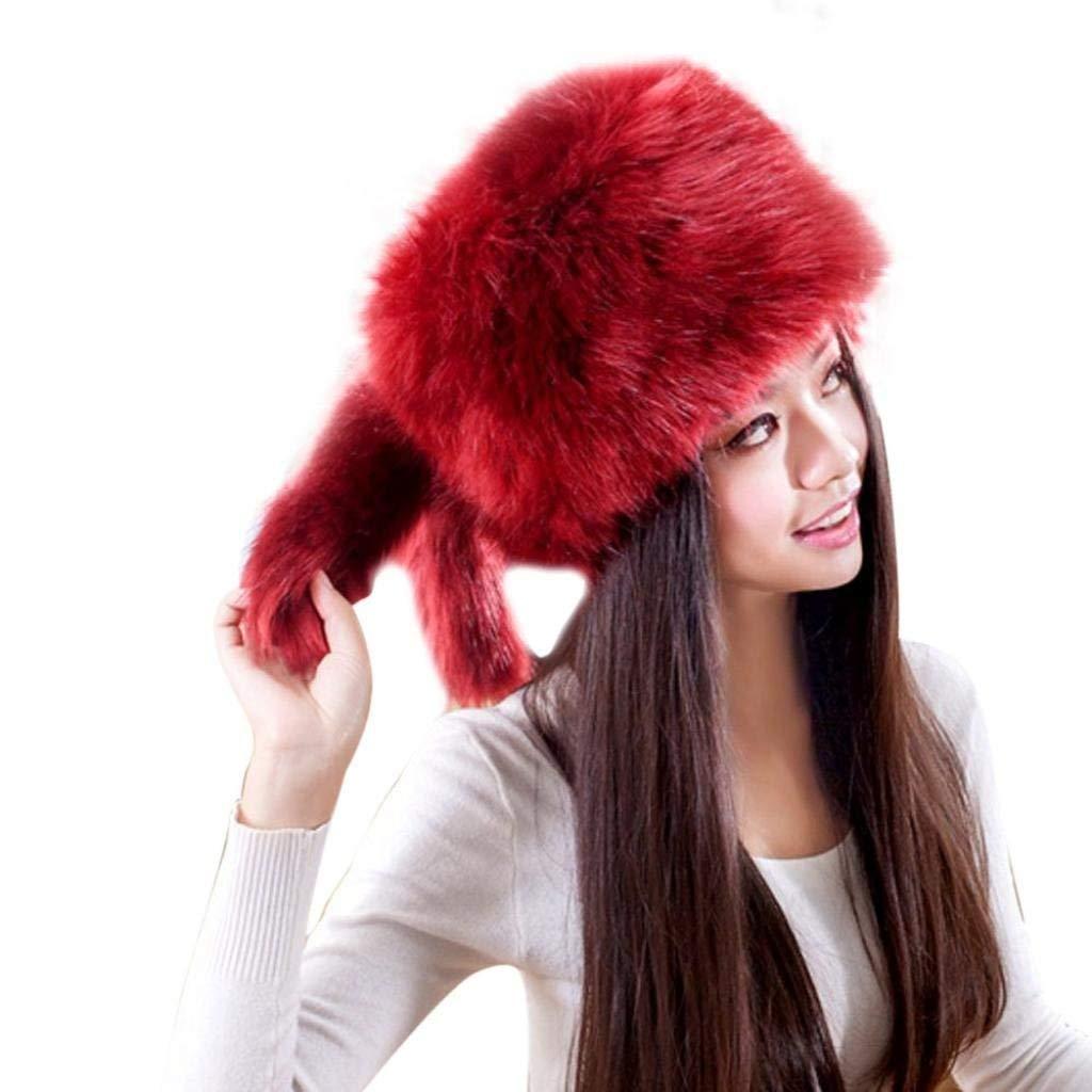 ac6adbda4f8e4 Get Quotations · LUQUAN Fashion Warm Winter Tail Beanie Beret Cap Women Faux  Fur Ear Hat