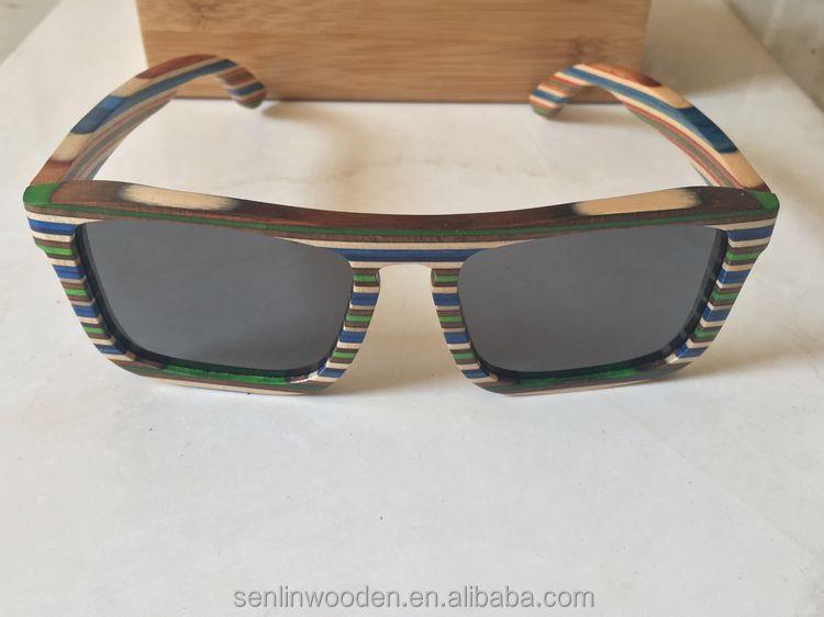 Skateboard Wood Sunglasses,Colorful Wood &bamboo Glasses,Wooden ...