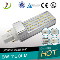 8w 100lm/watt AC 85-277V clear or milky cover gx23 lighting bulb led gx23 led cfl replacement bulb
