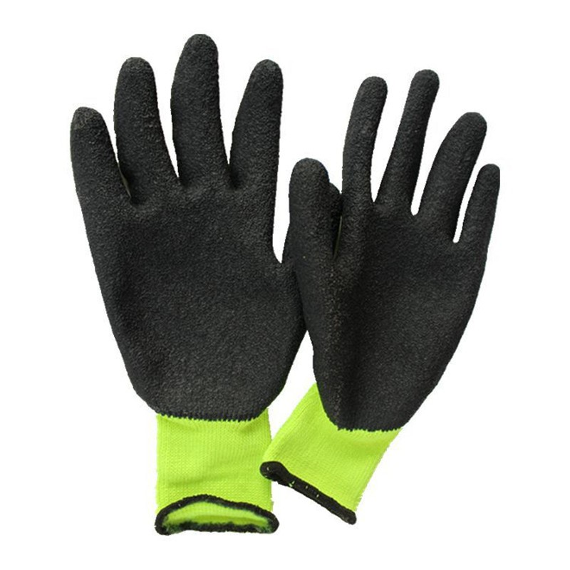 Rugged Wear Cotton Gloves Latex Coated Gloves Green Winter