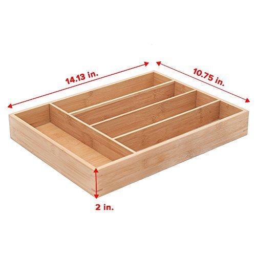 5-Slot Bamboo Kitchen Cutlery Drawer Organizer 3