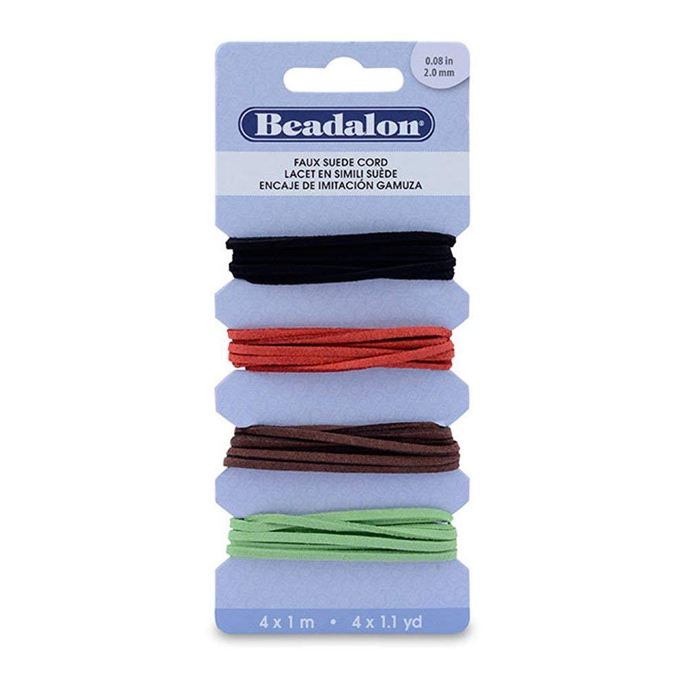 Cord Variety Pack, Faux Suede, 2 mm (.08 in), Black, Red, Brown, Green, 1 m ( 1.1 yd) ea 147Z-008