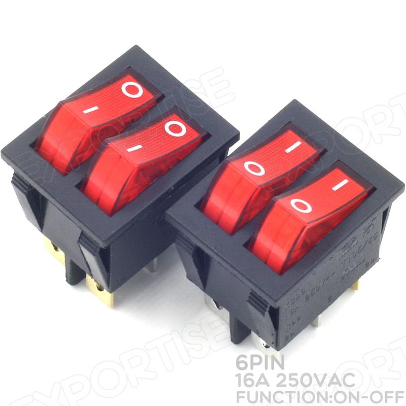 Double On/Off Rocker Switches With Red LED Lamp Snap-in Rocker Switch 6X Pin Number DPDT KCD3 16A 250VAC