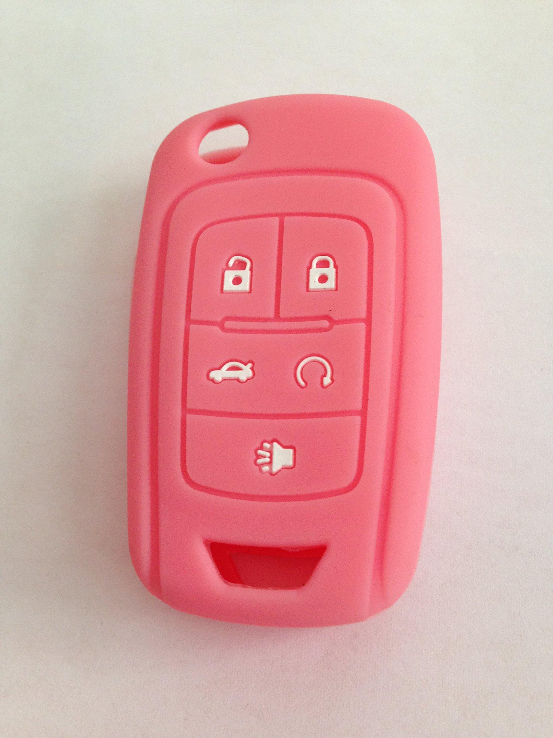 TCKEY Pink Silicone Cover Holder Key Jacket for Chevrolet Camaro Cruze Volt Equinox Spark Malibu Sonic Flip Remote Key Case Shell 5 BTN BK