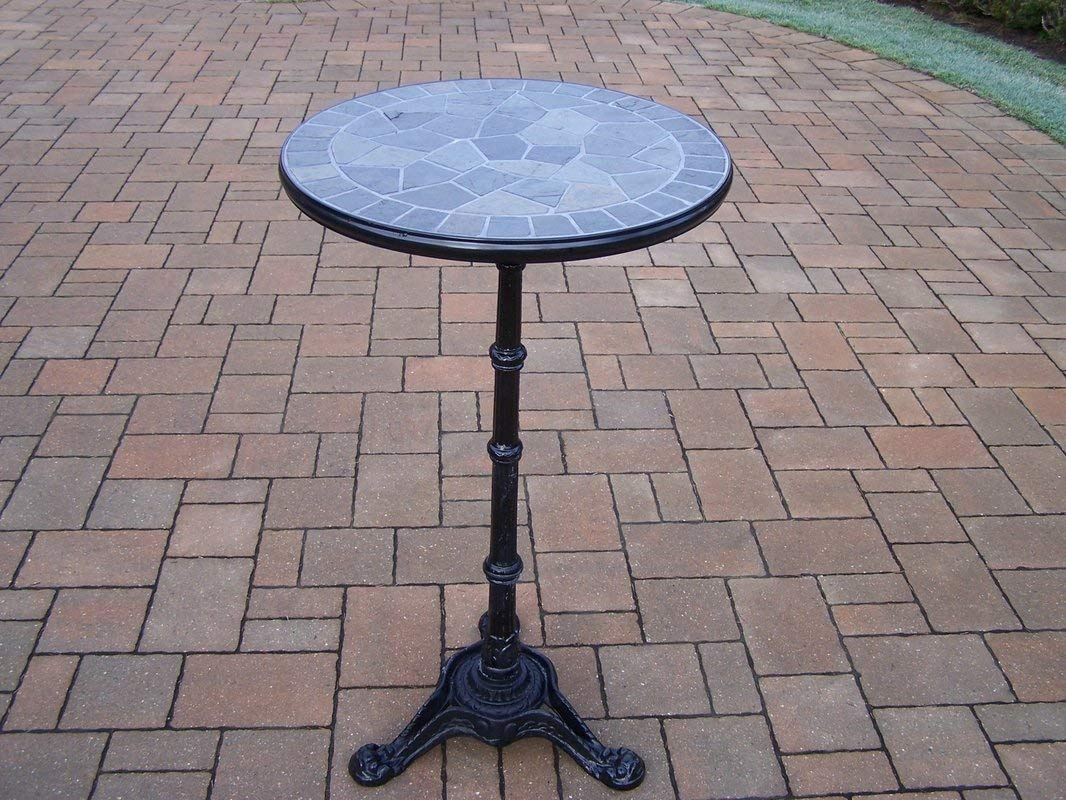 Bar Table Hardened Powder Coated Finish in Black for Years of Beauty Authentic Stone Formed Top Rust-free Cast Aluminum Construction