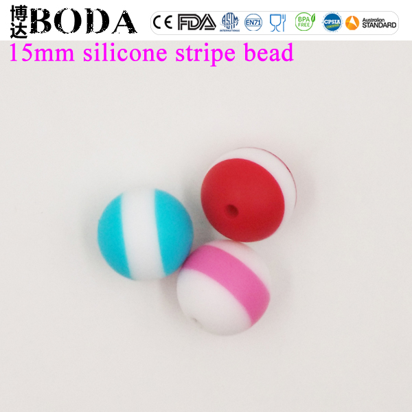 BODA food grade silicone teething stripe beads bulk silicone beads