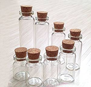 Pack of 6 Various Sizes Glass Wishing Bottles Jars with Cork Stoppers/Clear Cosmetics Container for DIY Arts Crafts Decoration Message Weddings Wish Jewelry Party Favors (15ML)
